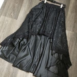High Low Lace Burlesque Maxi Skirt